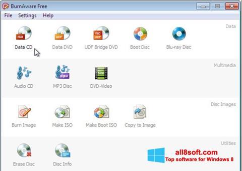 لقطة شاشة BurnAware Free لنظام التشغيل Windows 8