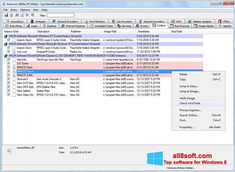 لقطة شاشة AutoRuns لنظام التشغيل Windows 8