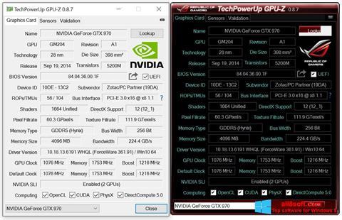 لقطة شاشة GPU-Z لنظام التشغيل Windows 8