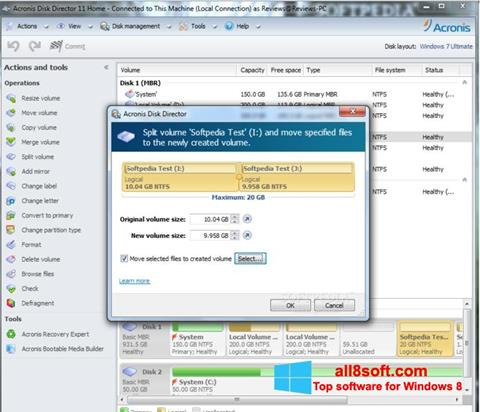 لقطة شاشة Acronis Disk Director لنظام التشغيل Windows 8