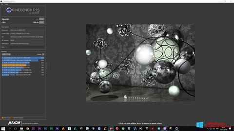 لقطة شاشة CINEBENCH لنظام التشغيل Windows 8