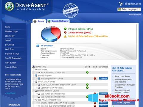 لقطة شاشة DriverAgent لنظام التشغيل Windows 8