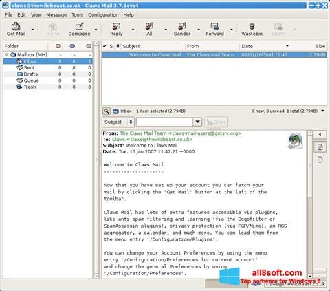لقطة شاشة Claws Mail لنظام التشغيل Windows 8