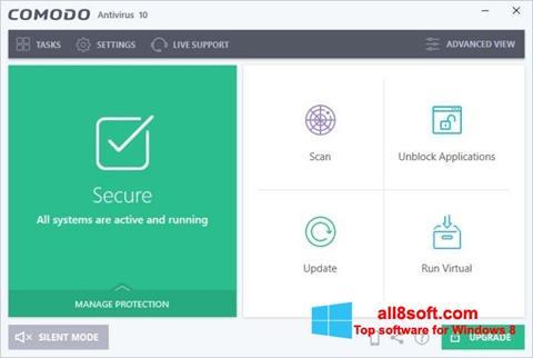 لقطة شاشة Comodo Antivirus لنظام التشغيل Windows 8