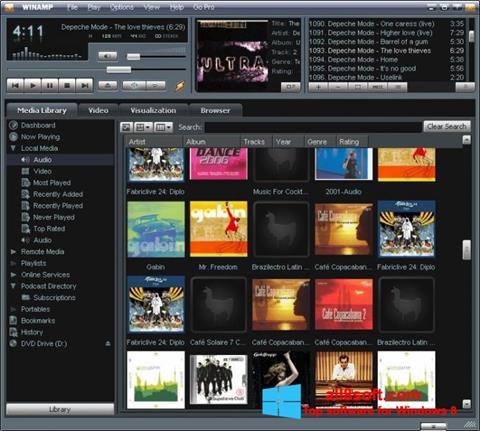 لقطة شاشة Winamp لنظام التشغيل Windows 8