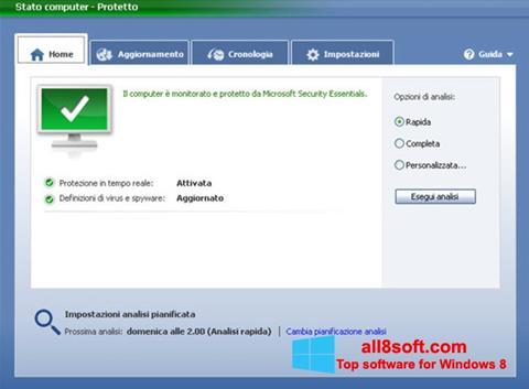 لقطة شاشة Microsoft Security Essentials لنظام التشغيل Windows 8