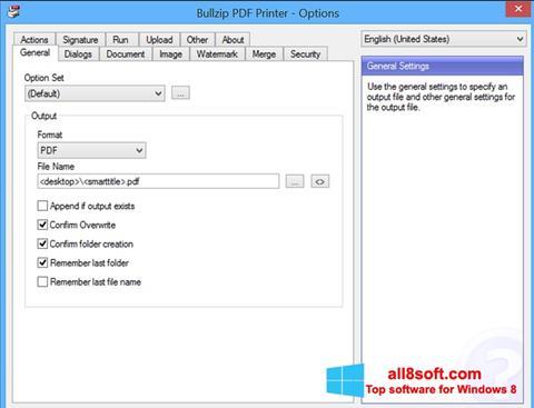 لقطة شاشة BullZip PDF Printer لنظام التشغيل Windows 8