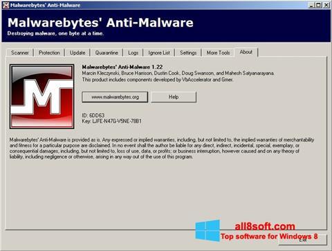 لقطة شاشة Malwarebytes Anti-Malware Free لنظام التشغيل Windows 8