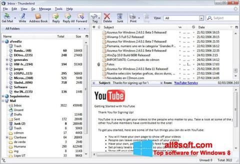 لقطة شاشة Mozilla Thunderbird لنظام التشغيل Windows 8