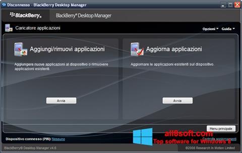 لقطة شاشة BlackBerry Desktop Manager لنظام التشغيل Windows 8