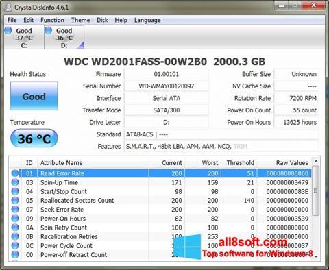 لقطة شاشة CrystalDiskInfo لنظام التشغيل Windows 8