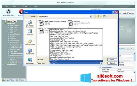 لقطة شاشة Any Video Converter لنظام التشغيل Windows 8