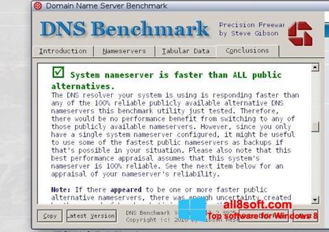 لقطة شاشة DNS Benchmark لنظام التشغيل Windows 8