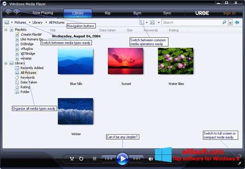 لقطة شاشة Media Player لنظام التشغيل Windows 8