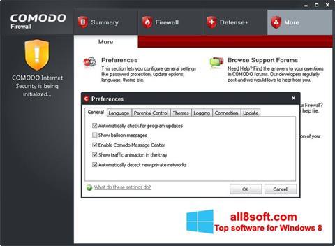 لقطة شاشة Comodo Firewall لنظام التشغيل Windows 8