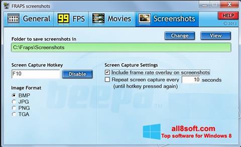 لقطة شاشة Fraps لنظام التشغيل Windows 8