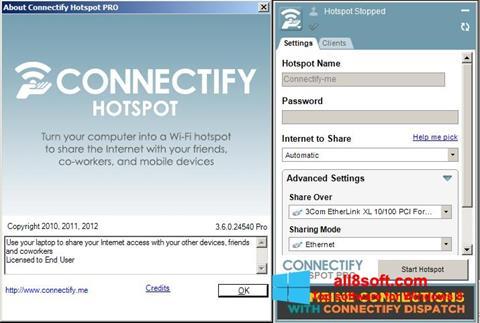 لقطة شاشة Connectify Hotspot PRO لنظام التشغيل Windows 8