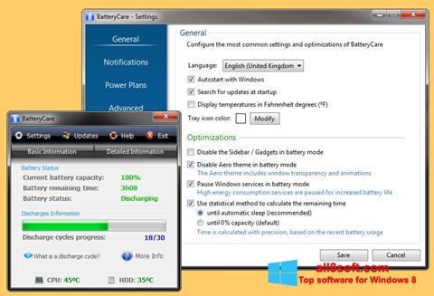 لقطة شاشة BatteryCare لنظام التشغيل Windows 8