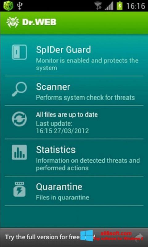 لقطة شاشة Dr.Web Light لنظام التشغيل Windows 8