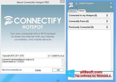 لقطة شاشة Connectify لنظام التشغيل Windows 8