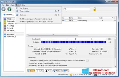 لقطة شاشة qBittorrent لنظام التشغيل Windows 8