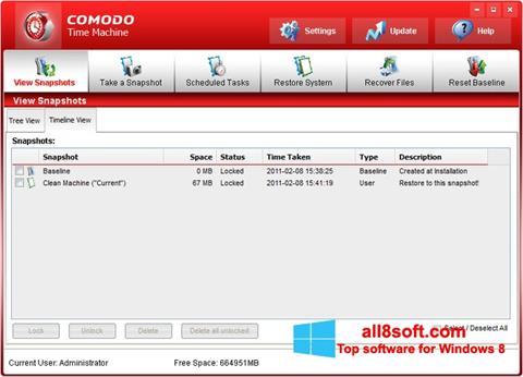 لقطة شاشة Comodo Time Machine لنظام التشغيل Windows 8