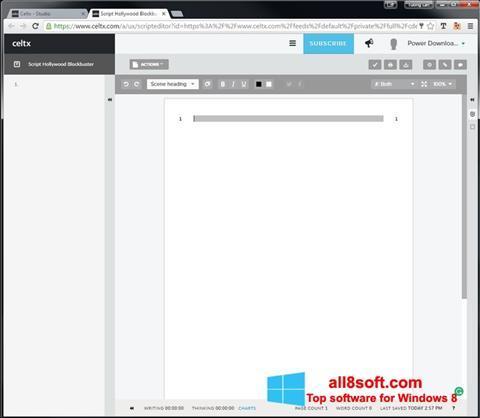 لقطة شاشة Celtx لنظام التشغيل Windows 8