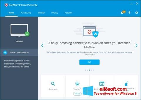 لقطة شاشة McAfee لنظام التشغيل Windows 8