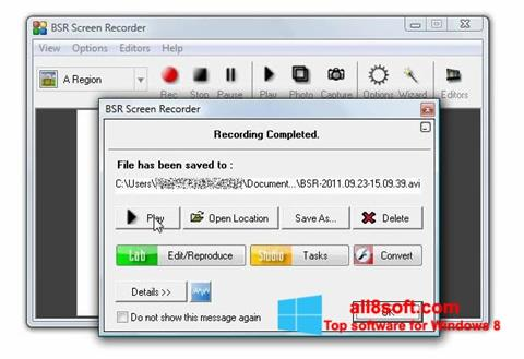لقطة شاشة BSR Screen Recorder لنظام التشغيل Windows 8