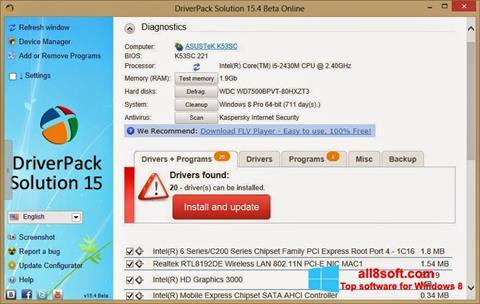 لقطة شاشة DriverPack Solution Online لنظام التشغيل Windows 8