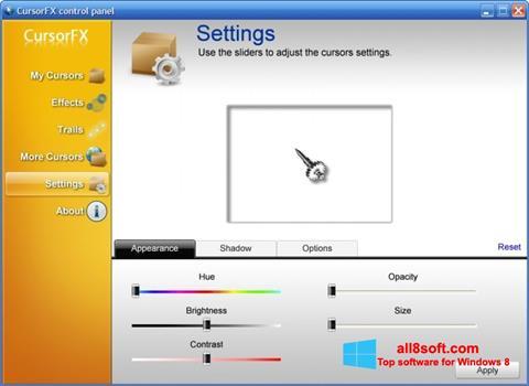 لقطة شاشة CursorFX لنظام التشغيل Windows 8
