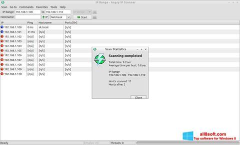 لقطة شاشة Angry IP Scanner لنظام التشغيل Windows 8