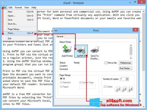لقطة شاشة doPDF لنظام التشغيل Windows 8
