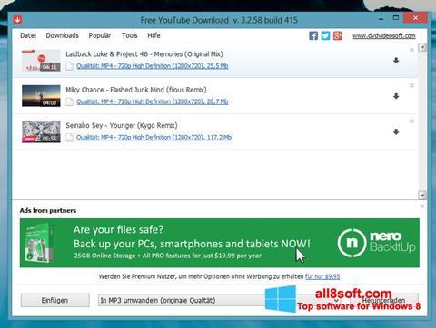 لقطة شاشة Free YouTube Download لنظام التشغيل Windows 8