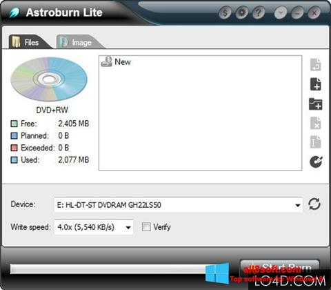 لقطة شاشة Astroburn Lite لنظام التشغيل Windows 8
