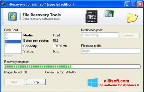 لقطة شاشة F-Recovery SD لنظام التشغيل Windows 8