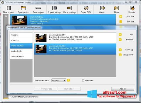 لقطة شاشة DVD Flick لنظام التشغيل Windows 8