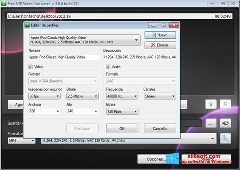 لقطة شاشة Free MP4 Video Converter لنظام التشغيل Windows 8