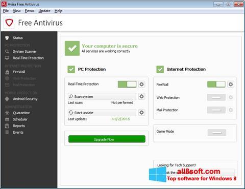 لقطة شاشة Avira Free Antivirus لنظام التشغيل Windows 8