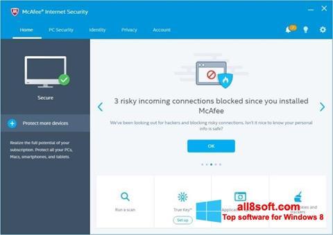 لقطة شاشة McAfee Internet Security لنظام التشغيل Windows 8