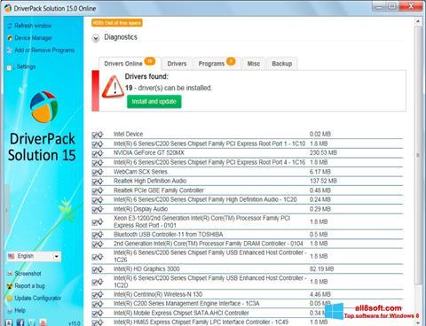 لقطة شاشة DriverPack Solution لنظام التشغيل Windows 8