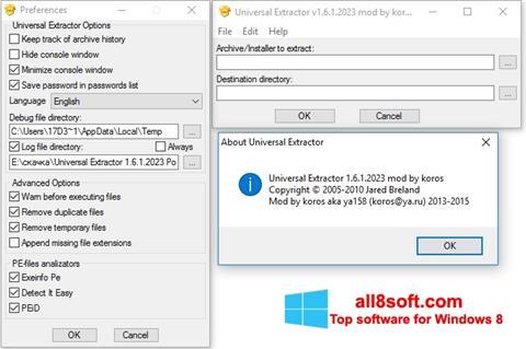 لقطة شاشة Universal Extractor لنظام التشغيل Windows 8