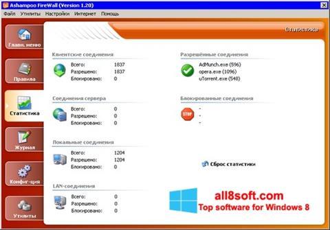 لقطة شاشة Ashampoo Firewall لنظام التشغيل Windows 8
