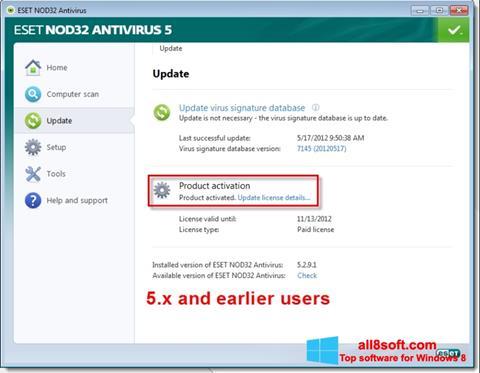لقطة شاشة ESET NOD32 لنظام التشغيل Windows 8
