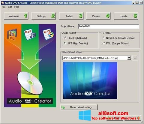 لقطة شاشة Audio DVD Creator لنظام التشغيل Windows 8