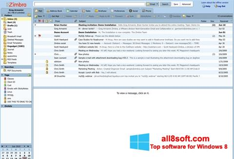 لقطة شاشة Zimbra Desktop لنظام التشغيل Windows 8