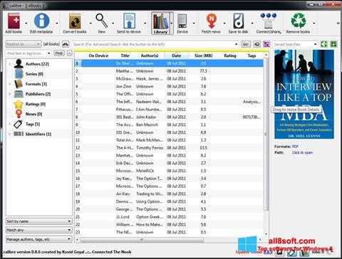 لقطة شاشة Calibre لنظام التشغيل Windows 8