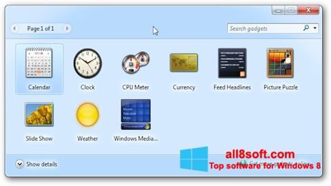 لقطة شاشة 8GadgetPack لنظام التشغيل Windows 8