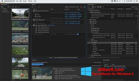 لقطة شاشة Adobe Media Encoder لنظام التشغيل Windows 8