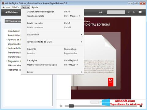 لقطة شاشة Adobe Digital Editions لنظام التشغيل Windows 8